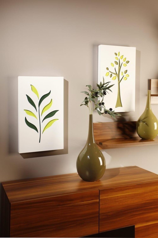 Obraz C-TRU żółto-zielony liść na białym tle tło Vialli Design