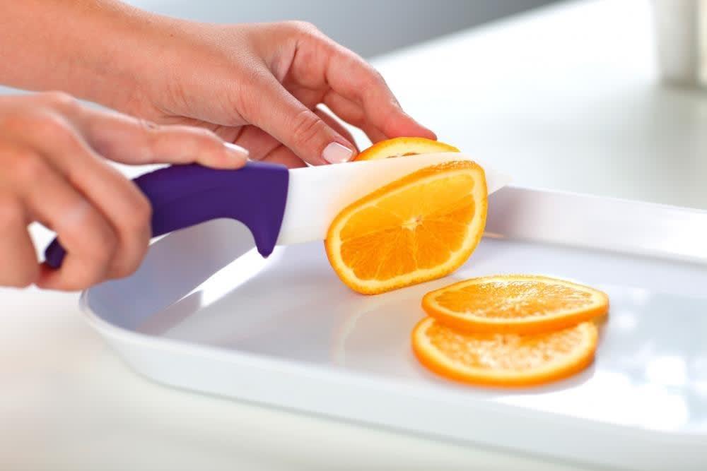 Nóż ceramiczny santoku fioletowy 14 cm Vialli Design