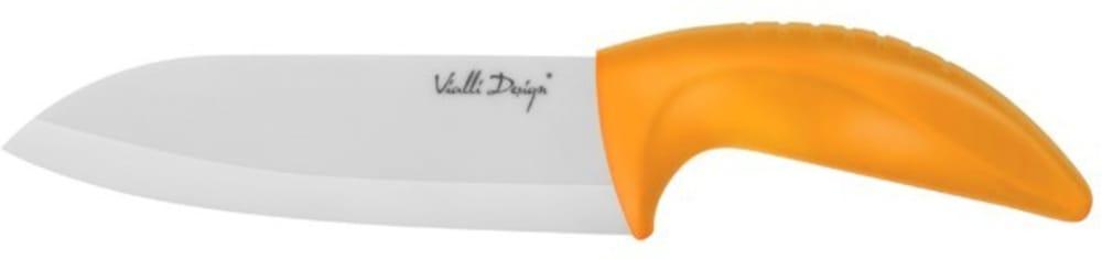 Nóż ceramiczny Santoku pomarańczowy 14 cm Vialli Design