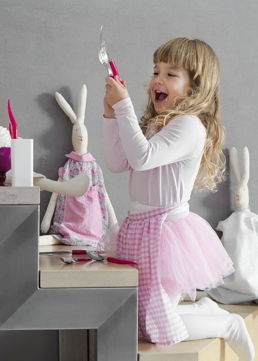Komplet sztućców 5 elementów Mio Tullio różowo-biały Vialli Design