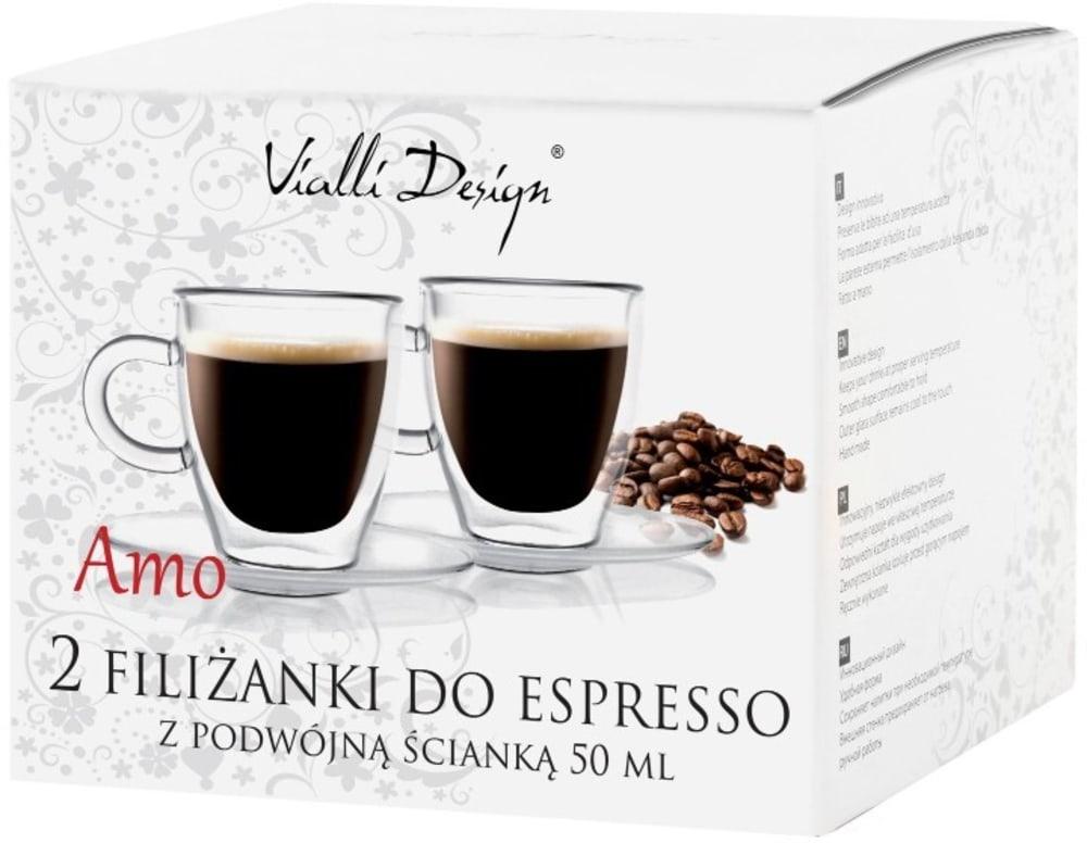 Vialli Design zestaw 2x filiżanki termiczne do espresso z podwójną ścianką AMO 50ml