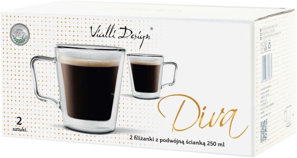 VIALLI DESIGN - Zestaw 6 filiżanek z podwójną ścianką, 250 ml - DIVA