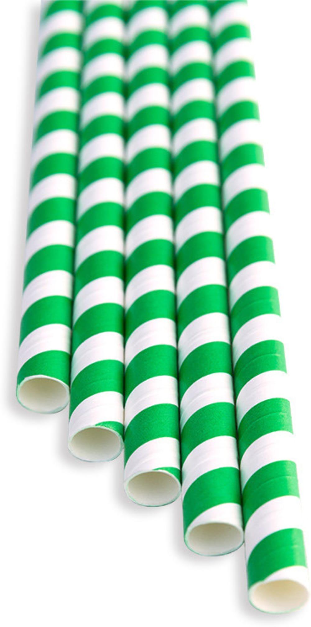Słomki zielone paski (op. 100 szt)
