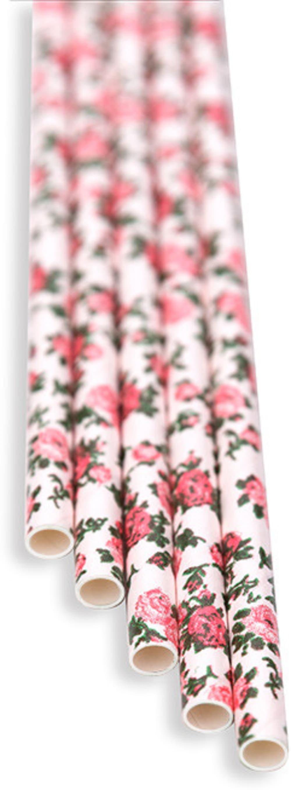 Słomki florystyczne białe w kwiaty (op. 100 szt)