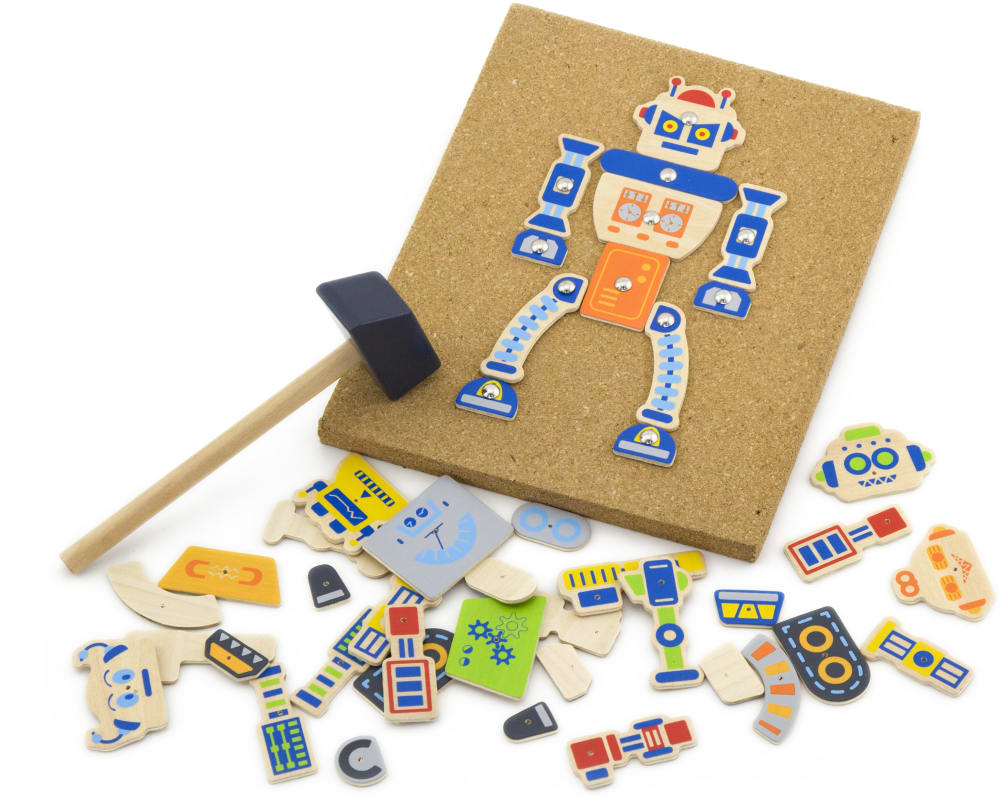 Zabawka drewniana, Korkowa przybijanka - robot Viga