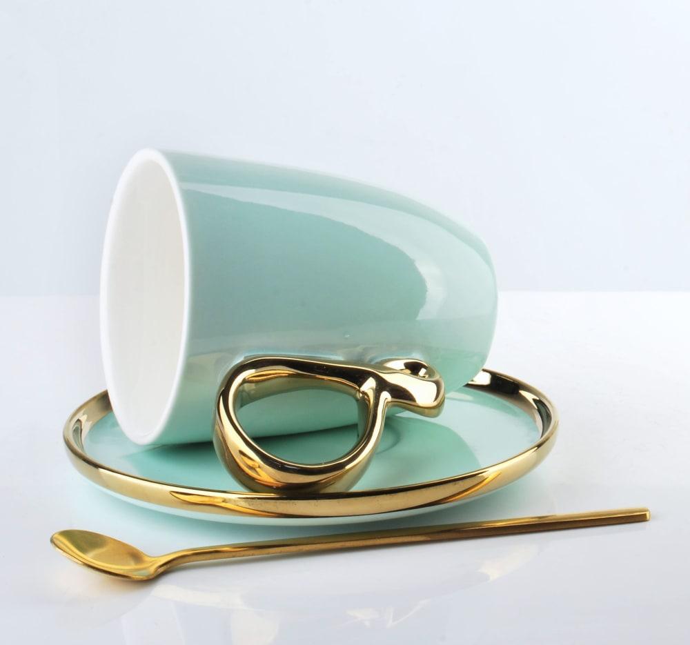 Filiżanka ze spodkiem Infinity gold mint 220 ml