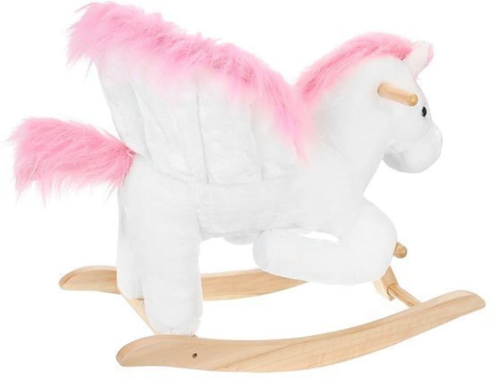 Koń na biegunach (bujak) 70cm biało-różowy Kruzzel