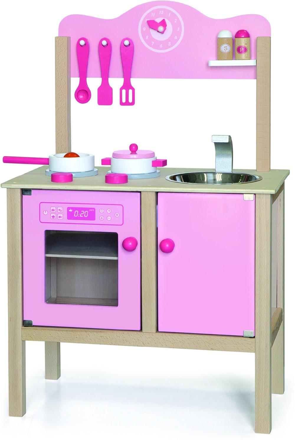 Zabawka drewniana. Kuchnia z akcesoriami różowa Viga