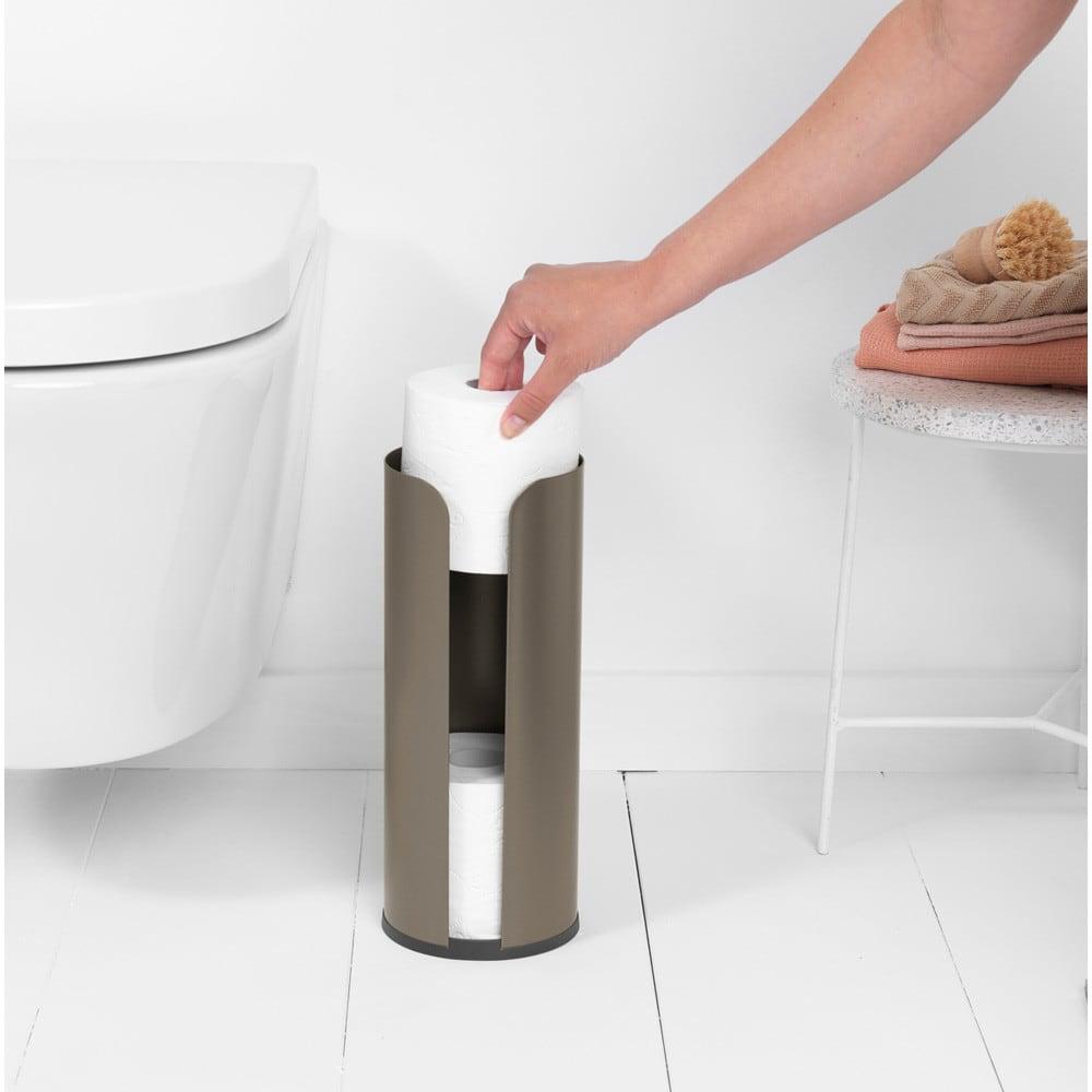 Brabantia zasobnik na papier toaletowy ReNew platynowy