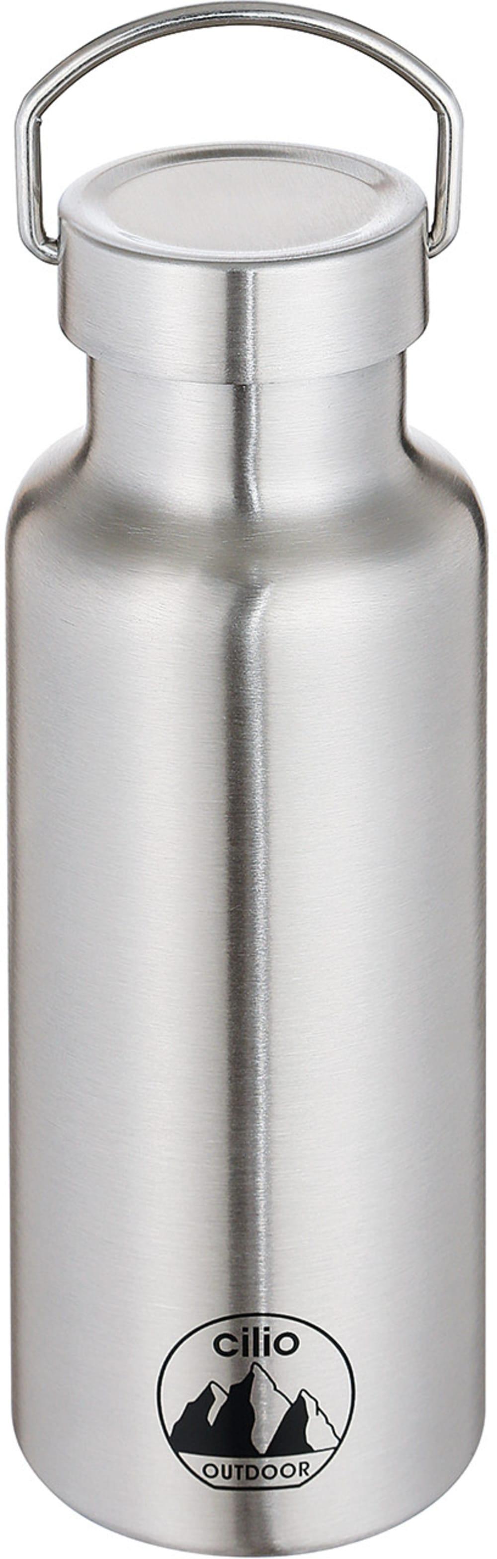 Stalowa butelka termiczna, śred. 7 x 20,5 cm, stal szczotkowana  0,5 l