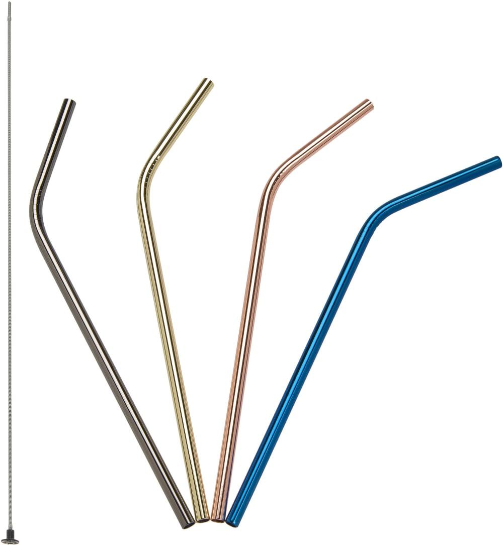 Zagięte stalowe słomki do napojów kolorowe, 21,5 cm 4 szt.