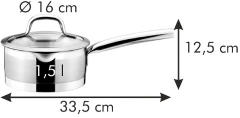 Rondelek PRESIDENT z pokrywką do cedzenia ø 16 cm, 1.5 l