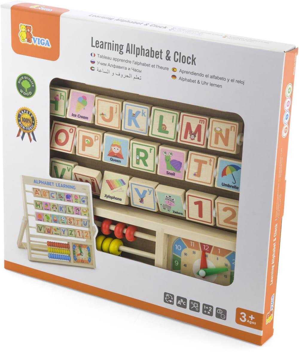 Zabawka drewniana. Tabliczka 3w1 Nauka alfabetu, godzin, liczenia Viga