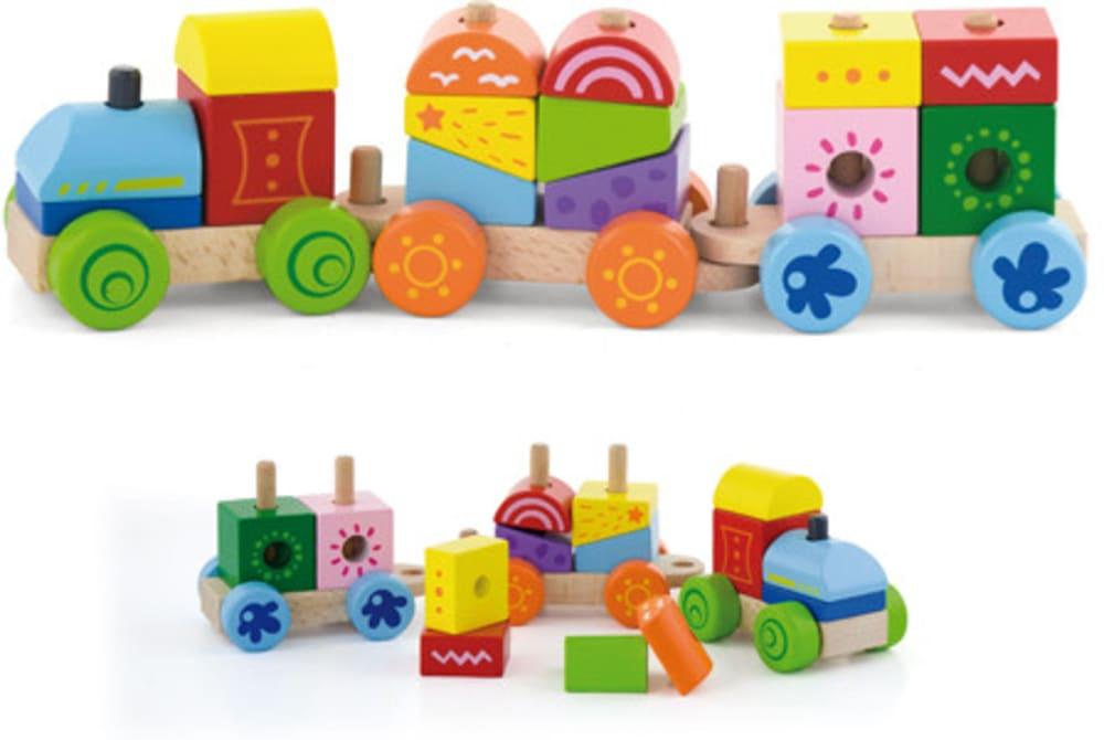 Zabawka drewniana. Pociąg z klockami