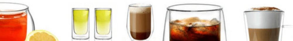 Komplet 6 szklanek 350ml z podwójną ścianką Bolla ze złotymi łyżeczkami Vialli Design