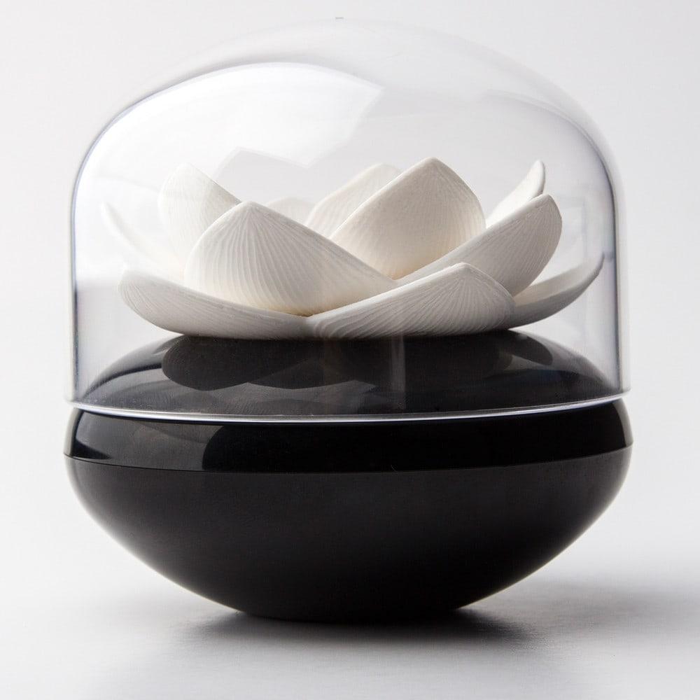 Pojemnik na patyczki do uszu Lotus czarno-biały