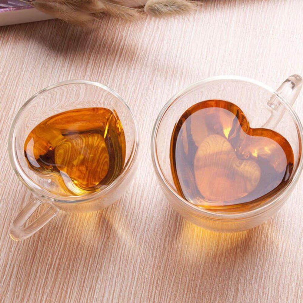 Zestaw komplet dwóch szklanek termicznych na gorące napoję kawę latte z sercem 250ml Andrea Altom Design
