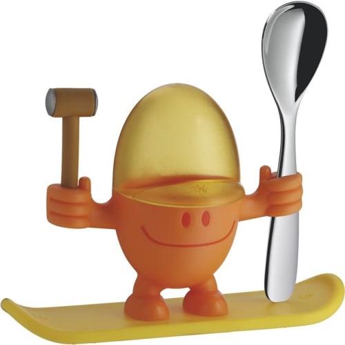 Kieliszek na jajko z łyżeczką, pomarańczowy