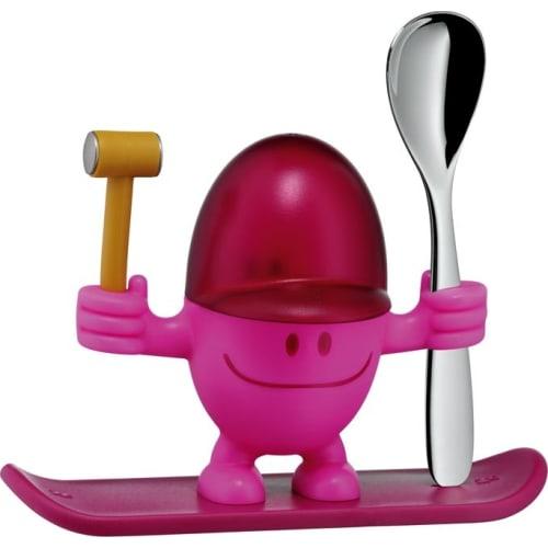 Kieliszek na jajko z łyżeczką, różowy