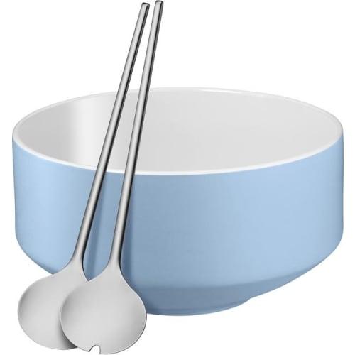 WMF - Zestaw do sałatek: miska+sztućce - niebieski