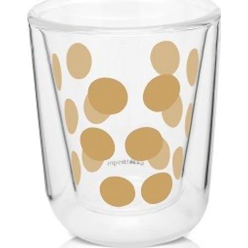 Zestaw 2 szklanek 75ml z łyżeczkami, złoty