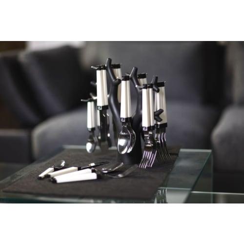 Komplet sztućców 24 szt. Enea biało czarny Vialli Design