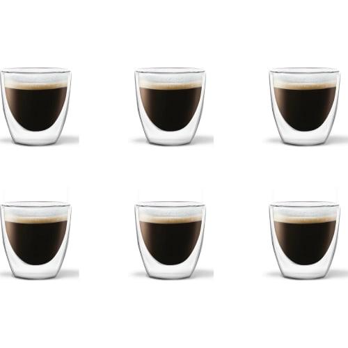 VIALLI DESIGN - Zestaw 6 szklanek do espresso z podwójną ścianką, 80 ml AMO