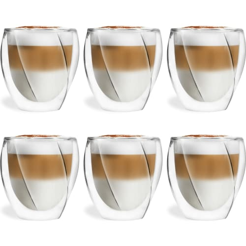 Vialli Design Zestaw 6 szklanek termicznych z podwójną ścianką Cristallo 250ml