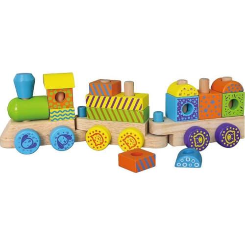 Zabawka drewniana. Kolorowa kolejka pociąg ciuchcia Viga