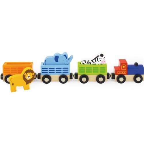 Zabawka drewniana. Pociąg ZOO Viga
