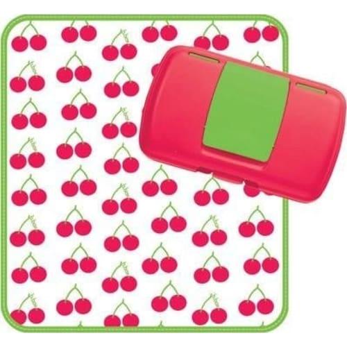 Podróżny przewijak w etui mata do przewijania w saszetce z pudełkiem na mokre chusteczki i pieluszki Cherry Delight b.box