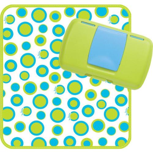 Podróżny przewijak w etui mata do przewijania w saszetce z pudełkiem na mokre chusteczki i pieluszki Retro Circles, b.box