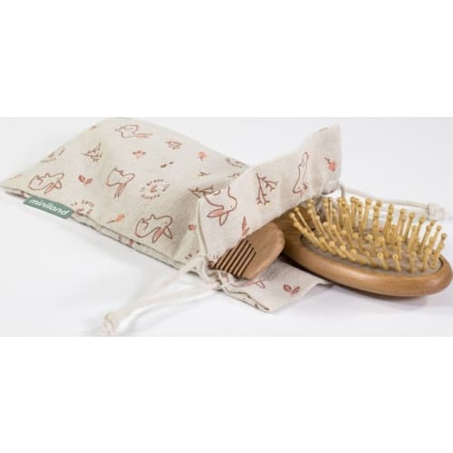Zestaw do pielęgnacji dziecka (2 szczotki i grzebyk z torbą) - Wiewiórka