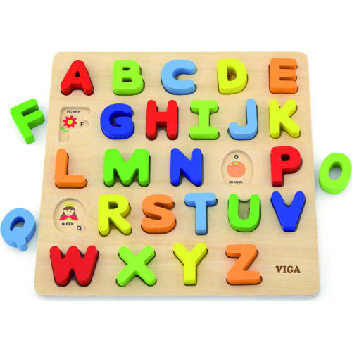 Zabawka drewniana. Sorter na podkładce - alfabet Viga