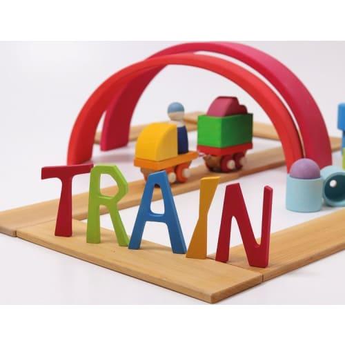 Drewniany pociąg, zestaw budowlany, tęczowy, Grimm's