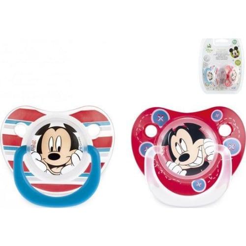 Smoczek okrągły silikonowy, Myszka Mickey, 6m+, 2 szt