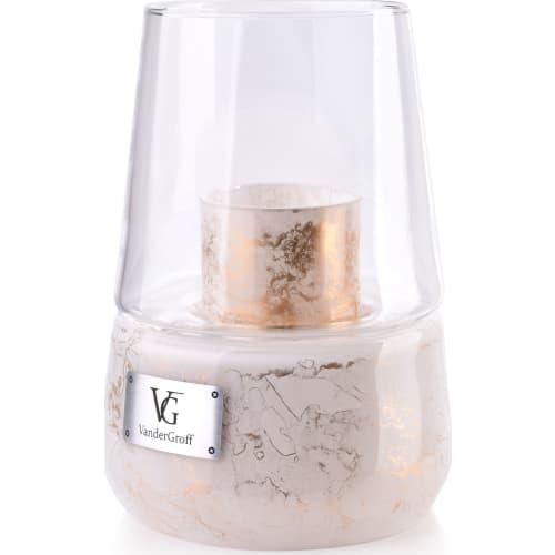 Świeca z Kloszem Lampion Biały Marmur 25x18cm CRISTIE