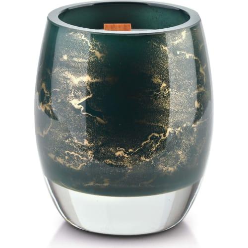 Świeca 10x8cm zieleń butelkowa-marmur CRISTIE
