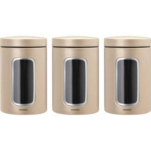 Brabantia zestaw pojemników z okienkiem szampańskie 1.4 l 3 szt.