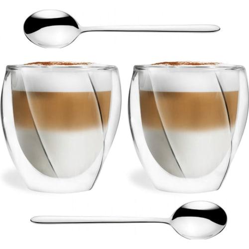 VIALLI DESIGN Zestaw 2 szklanki termiczne z podwójną ścianką Cristallo 250ml + łyżeczki