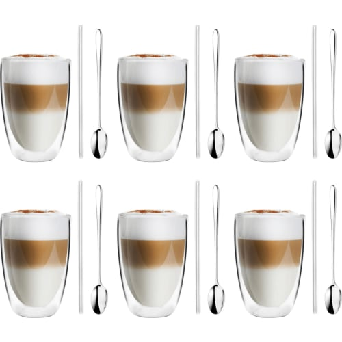 Vialli Design Vita Zestaw 6 szklanek z podwójną ścianką 350ml ze słomkami i łyżeczkami