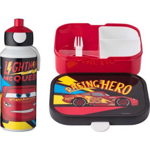 Mepal Zestaw butelka i lunchbox + widelczyk dla dziecka Cars Go