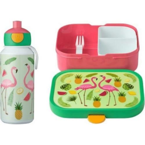 Mepal Zestaw butelka i lunchbox + widelczyk dla dziecka Flamingo