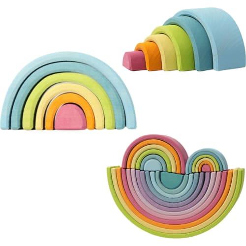 Zabawka drewniana. Układanka Kolorowa Tęcza 6-elementowa, pastelowa, Grimm's