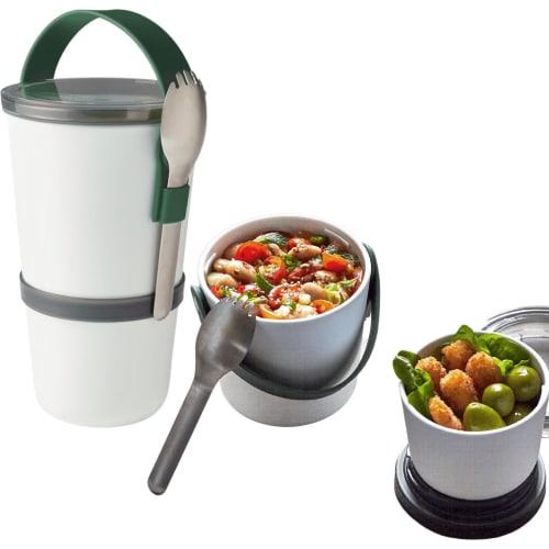 Pojemnik Lunch pot, biało-oliwkowy