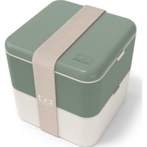 MonBento Square Bento Box Lunchbox kwadratowy 2w1 Natural Green