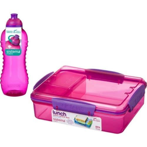 Zestaw Pojemnik Snack Attack I Butelka Squeeze Lunch Pack Różowy