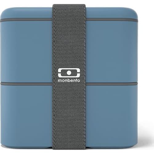 MonBento Bento Box lunchbox 2w1 blue niebieski denim MB Square