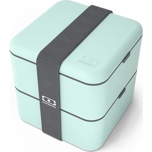 MonBento Bento Box lunchbox 2w1 blue niebieski turkus MB Square maatcha
