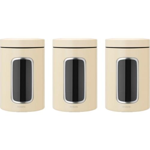 BRABANTIA - Zestaw pojemników z okienkiem 1,4l, 3 szt - migdałowy